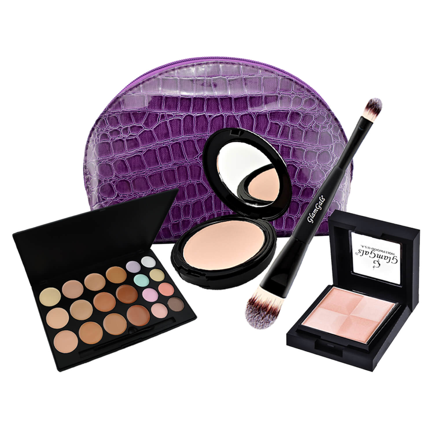 GlamGals Face Makeup Advanced Combo set (Pack of 4) with Free Pouch