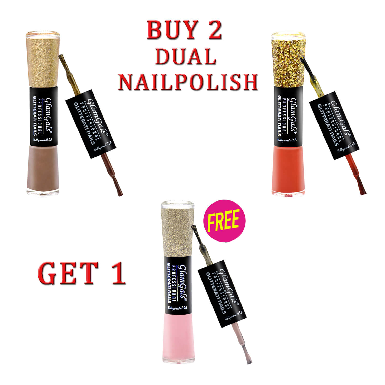 Buy 2 GlamGals Glossy Finished Glitterati Nail Polish & Get 1 Free